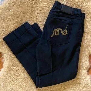 Ralph Lauren Black Jeans Snake Embroidery Sz 8 M1